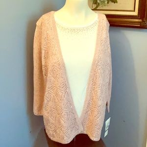 Alfred Dunner pink knit layered sweater top PXL